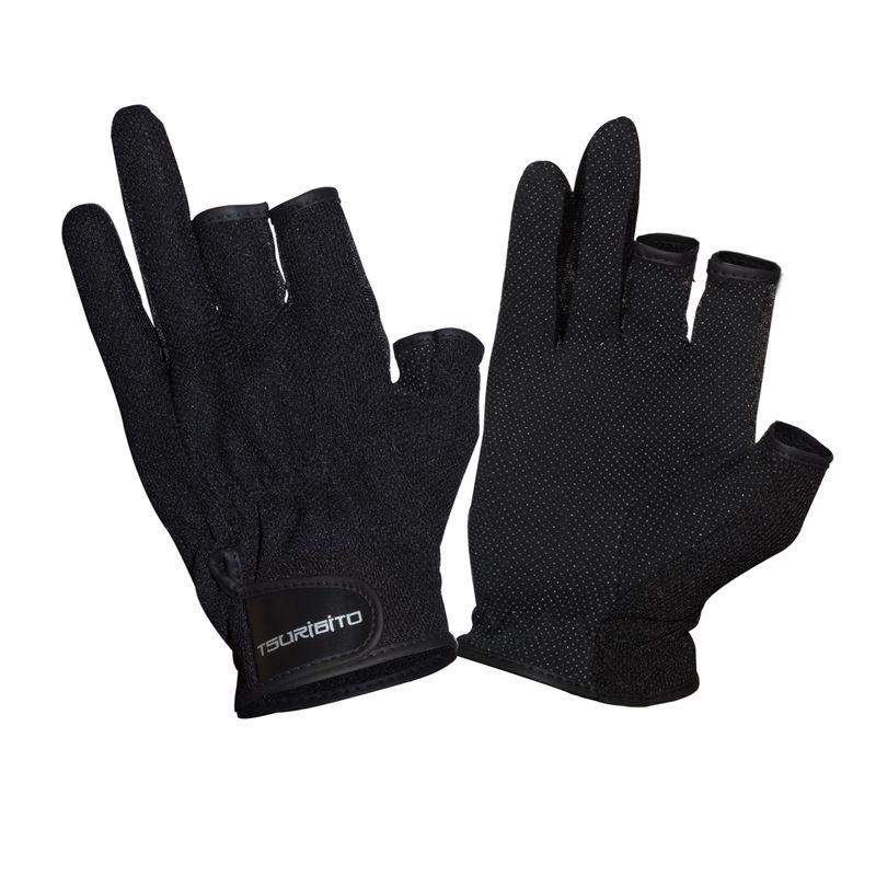 Перчатки рыболовные TSURIBITO SFG-8016, цвет черный