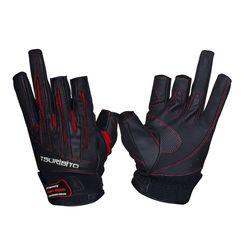 Перчатки рыболовные TSURIBITO LFG-110, цвет черный с красным